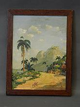 A South American school oil on canvas, coastal road with distant mountains, signed 'Koenig' (?), 12'' x 16'', Best Bid