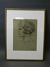 D.F. Daviles 1932, chalk on paper, portrait of a young woman, 11½'' x 15¼''