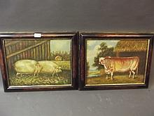 A pair of C20th naïve school oils on canvas, study of pigs and a bull, signed 'E.K. Cox, Yorks 49', in walnut frames, images 15½'' x 11½''