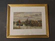 A watercolour painting, wherry on the River Avon, labelled 'Tewksbury 1929' verso, 16½'' x 10¼''
