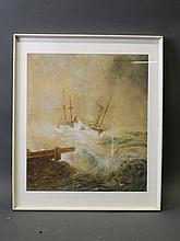 A watercolour painting, two ships on stormy seas, 19'' x 21¼''