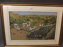 Norah Reid A.R.C.A., watercolour, coastal village scene, signed, image 21½'' x 13½''
