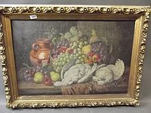 Charles Thomas Bale, C19th oil on canvas, still life study of dead game and fruit etc, signed, in a gilt frame, image 30'' x 19''