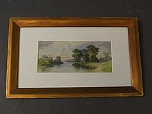 A late C19th/early C20th watercolour, river scene with distant church steeple, 11¾'' x 5¼''