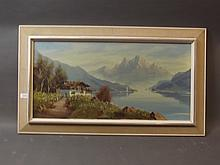 A large oil on board, Swiss mountain and lake scene, signed Keillman, image 31'' x 15''