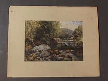 A C19th/C20th watercolour, mountain stream, unsigned, 13'' x 9½''