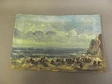 Marcella Smith (1887-1963), impressionist unframed oil on board, beach scene with figures, signed and titled 'St. Ives' verso, 14'' x 9¼''