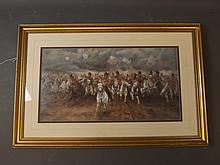 A hand coloured print, 'The Charge of Light Brigade', 29'' x 15''