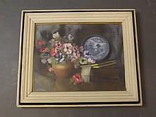 Ethel Laing, oil on board under glass, still life study of a bowl of flowers etc, signed, old label verso, image 17½'' x 13½''