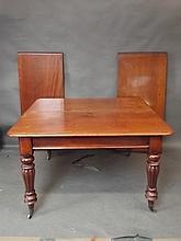 A Victorian mahogany extending dining table with two extra leaves on fluted supports, 89'' x 48'' extended