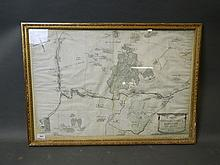 An early C18th French ink and watercolour map, 'Carte Generalle de la Baronnic de Beyne' dated 1714, in a gilt frame, 20'' x 30''