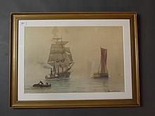 Ernest Stuart, watercolour, riverside depicting a clipper ship and steam tug with distant ships, titled verso 'A Hazy Morning on the Thames', 20½'' x 14''