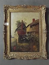 Carl Brock, oil on panel, laneside cottage, signed, late C19th/early C20th, 10'' x 14''