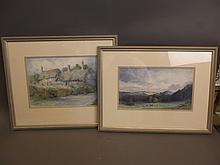 Wallace Hester, watercolour, thatched cottages, and another landscape by the same artist, largest 12'' x 9''