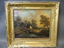 A C19th French oil on canvas, figured seated by a pond, signed Gene(?), in a giltwood Empire frame, 17'' x 21''