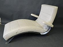 A pair of 1970s cream leather and chrome reclining day beds, 37'' wide, 66'' long