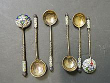 A set of six silver gilt and enamel spoons, marked 84, maker 'AH', 5'' long
