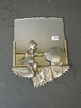 An Art Deco style silver plate wall lamp with mirrored base, 16'' x 12''