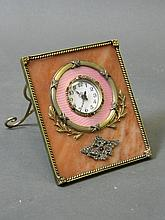 A Russian silver gilt and enamel easel framed clock set with diamonds and semi-precious stones, marked 88 with maker's mark, 4'' x 3½''