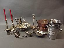 A good quantity of silver plate to include a large basket with handle, snuffers, champagne buckets, and heavy copper pans, basket 13'' long