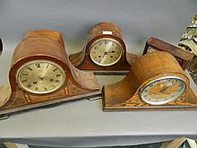 A quantity of various mantle clocks, largest 17½'' wide, Best Bid