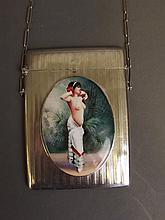 A Hallmarked silver engine turned card case on chain with later applied pictorial plaque of a topless woman, Birmingham 1908, 3'' x 4''