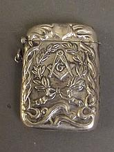 A 925 marked silver vesta case with Masonic decoration, 2½'' long, 41g
