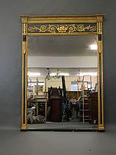 A good C19th painted and watergilt wall mirror, with gilt scroll work decoration, 87'' high, 65'' wide