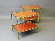 A good pair of brass two tier étagères set with C19th lacquered panels in scarlet and black with chinoiserie decoration, 24'' x 16'', 23'' high