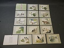 A collection of Chinese prints depicting birds, plants, and figures in everyday scenes, 9½'' x 8''