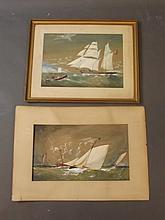 Two C19th English naïve watercolours, sailing boats on rough seas, largest 19'' x 11¼''