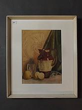 A watercolour, still life study of a jar and lemons, impressed ESK mark, 10¾'' x 14¾''
