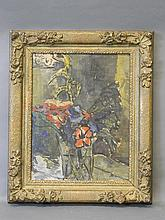 An oil on board, flowers in a glass vase, inscribed on label fragment verso 'Keith Baynes, Red & Blue', 14¼'' x 18''
