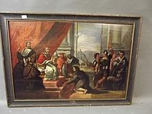 A large early oil on oak panel, figures before a pope with Roman Soldiers, framed, image 41½'' x 28''