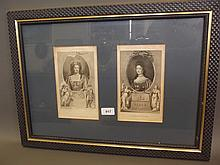 A framed pair of C18th engravings. 'Queen Anne & Mary', 22½'' x 16½''