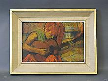 Maurice Man, monogrammed mixed media painting, 'Girl with a Guitar III', inscribed on original label verso, 18½'' x 12¼''