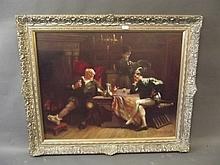 A.B. White, a large oil on canvas, interior scene with figures drinking, signed and dated 1919, in a gilt frame, image 35½'' x 28''