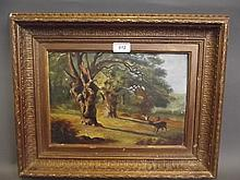 A C19th oil on board, stag in a wooded landscape, in a gilt frame, image 12½'' x 8½''