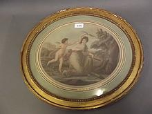 A C19th oval stipple engraving after Kauffmann, maiden with Cupid, in a gilt frame, 19'' x 17''