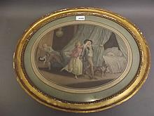 A C19th oval stipple engraving after Leroy, bedroom chamber scene, in a gilt frame, 20½'' x 17''