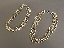 Two three string coloured pearl necklaces, 18'' long
