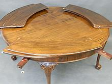 An early C20th mahogany circular dining table standing on cabriole supports with ball and claw feet, the top fitted with copper and six extending leaves, 59'' diameter, 81'' extended (AF)