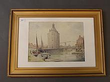Ronald Way, watercolour, Dutch canal scene, signed, 15'' x 11''