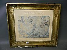 An early C19th French ink and watercolour map, 'Carte des Environs de Marteil Le Guyon' dated 1830, in a gilt Empire frame, 22'' x 19''