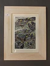 Annie Soudain, hand coloured linoprints of starlings, pencil signed, 8'' x 12½''