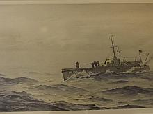 Norman Wilkinson, pencil signed lithograph, naval gun boat, 18½'' x 12''