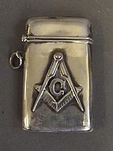 A Sterling silver vesta with Masonic decoration,