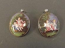 A pair of Victorian gold diamond and enamelled