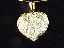 A 9ct gold pave diamond heart shaped necklace