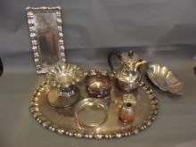 A quantity of silver plate to include a large tray